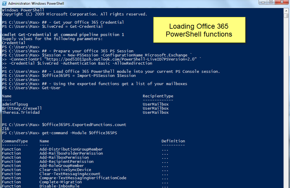 Getting Started With Office 365 PowerShell U2013 Max Trinidad U2013 The PowerShell  Front