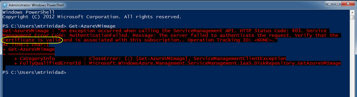 WindowsAzureInvalidAccess