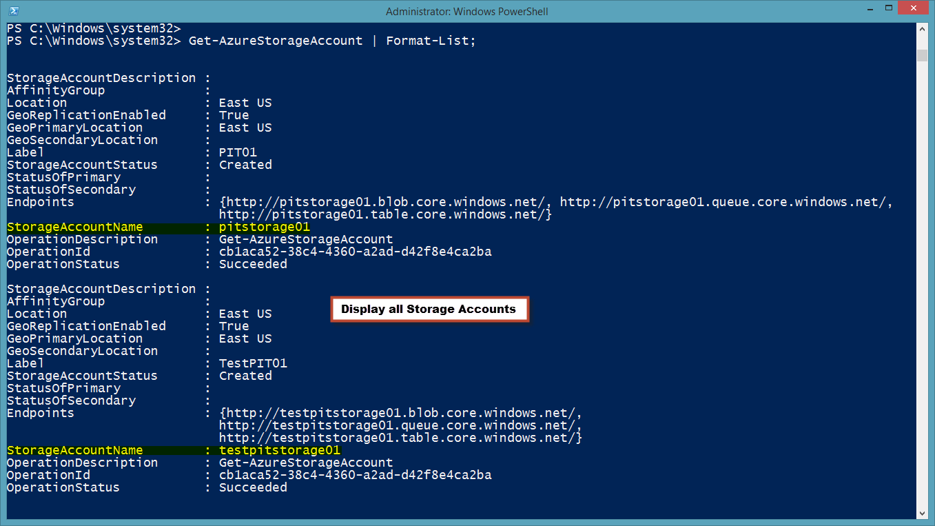 WindowsAzureStorageAcctlist