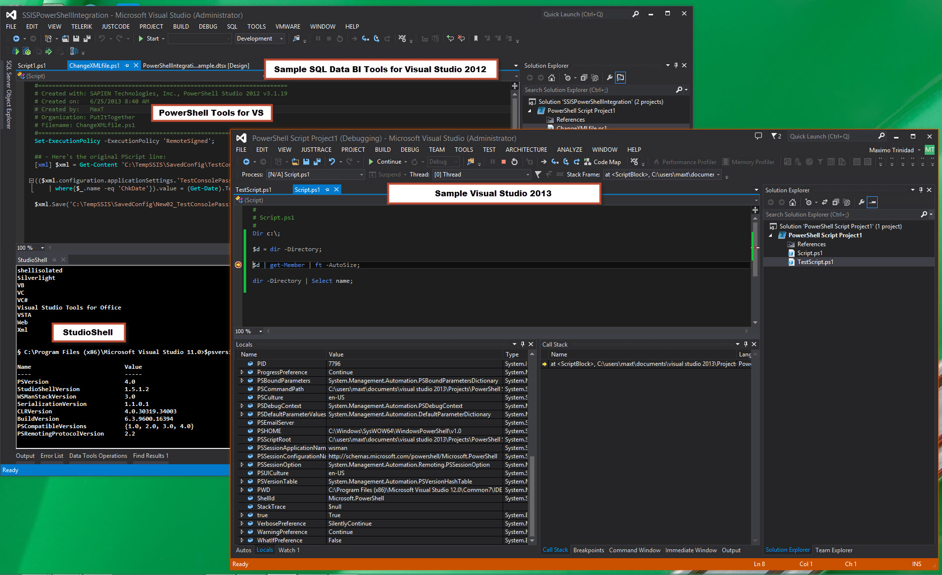 PowerShell Tools loaded in both VS2012 and VS2013