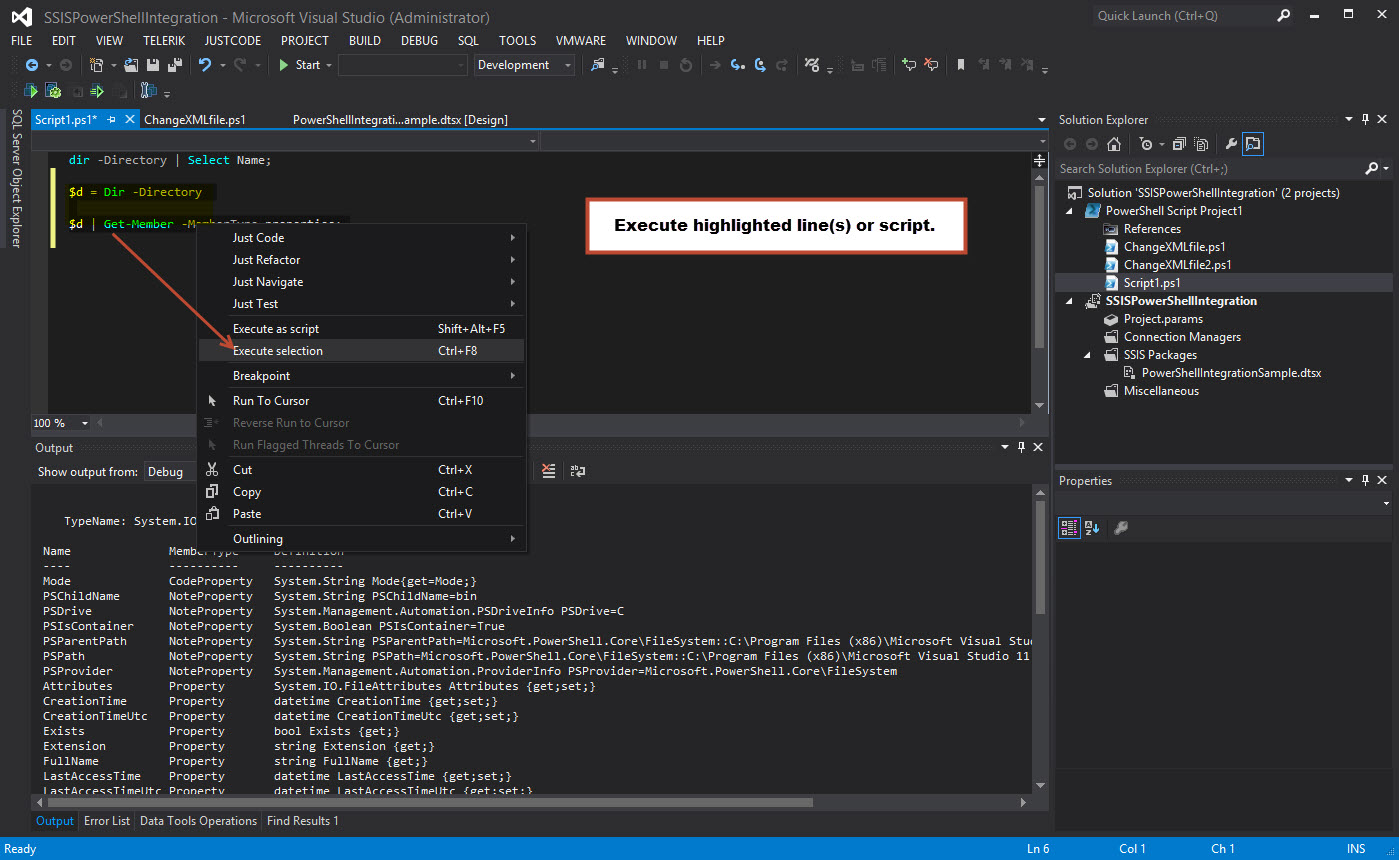 Executing PowerShell script from Visual Studio.