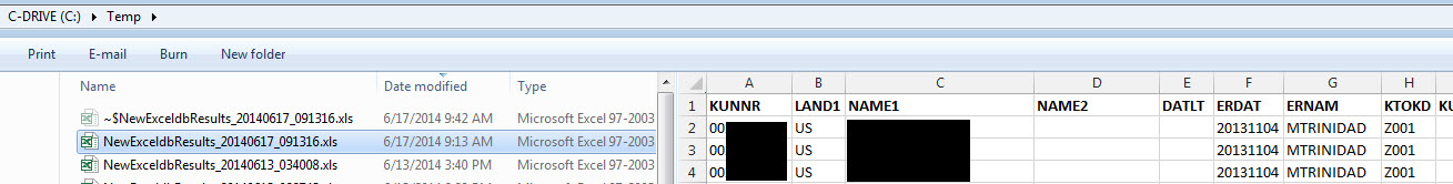 SQL Data to Excel file