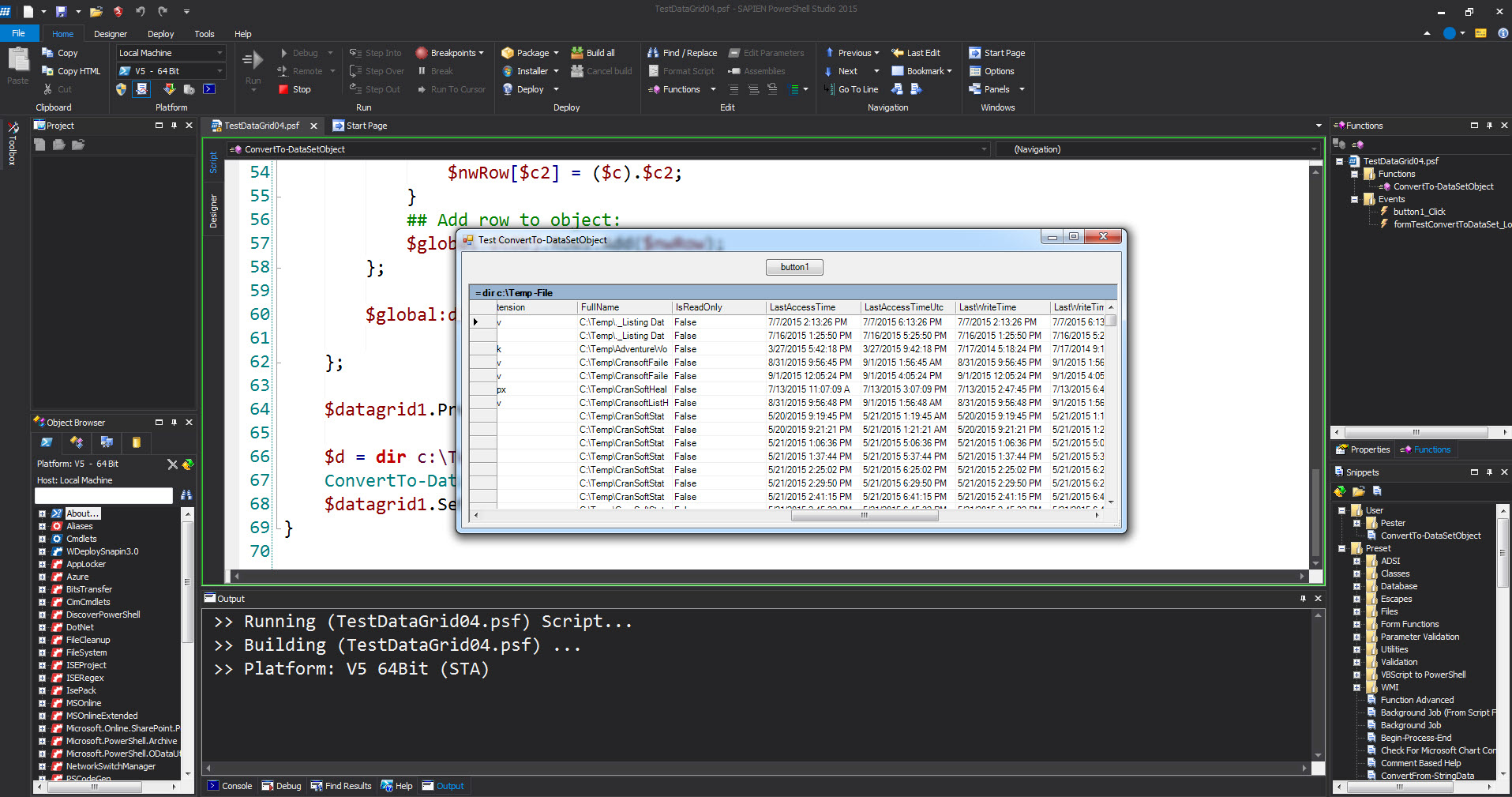 PowerShell Studio working with Datagrid component – Max Trinidad
