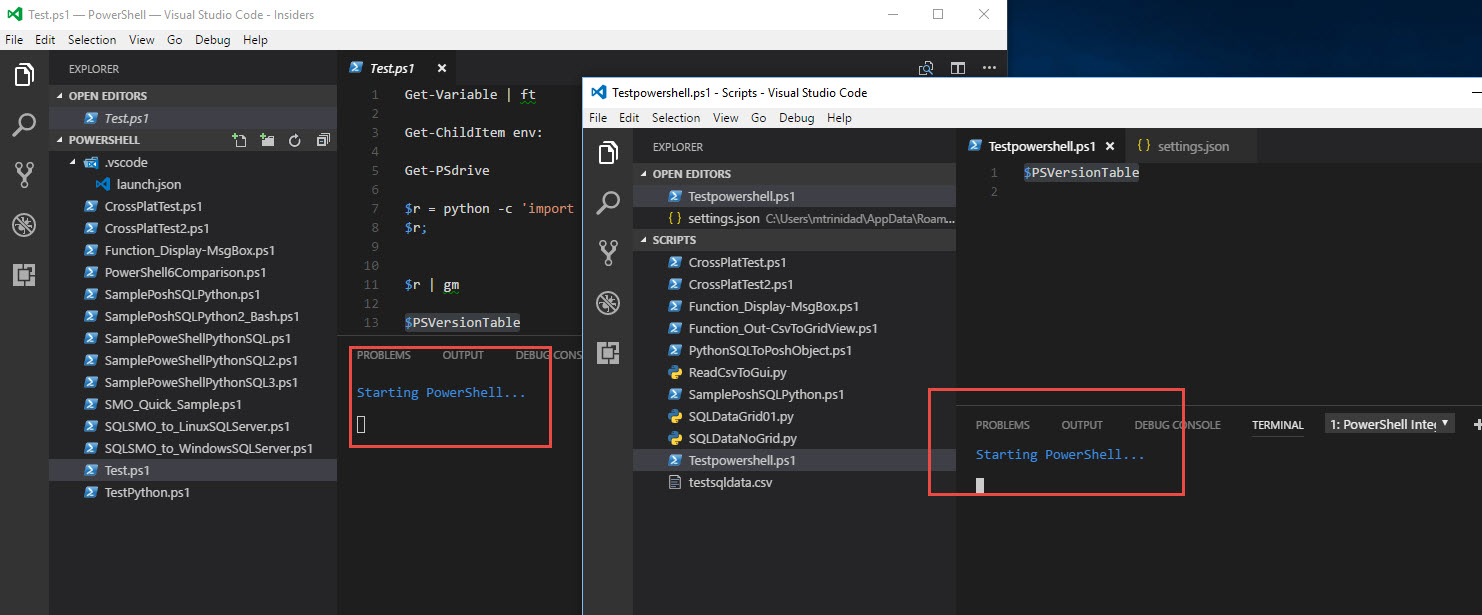"""Issues with VS Code """"PowerShell Integrated"""" feature – Max"""