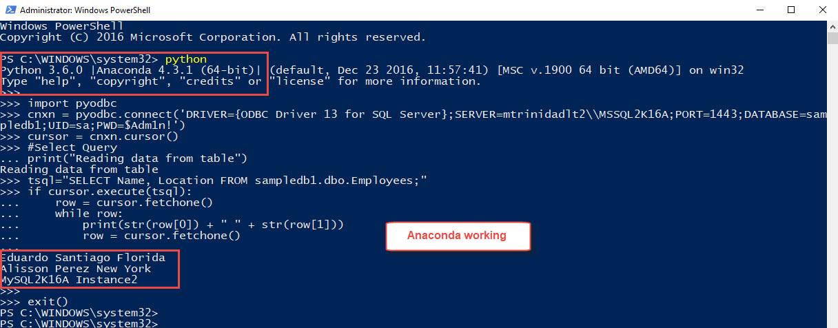 PowerShell, and SQL Server Working with Anaconda – Max