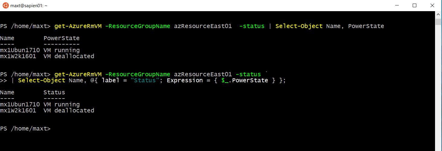 Simple way to get AzureRM VM Status – Max Trinidad – The