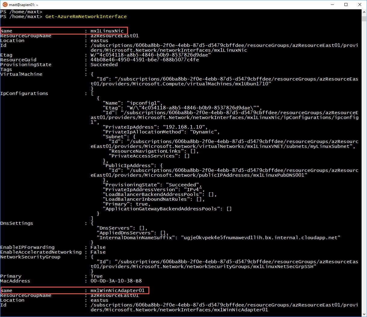 PowerShell Get-AzureRMNetworkInterface Customize View – Max