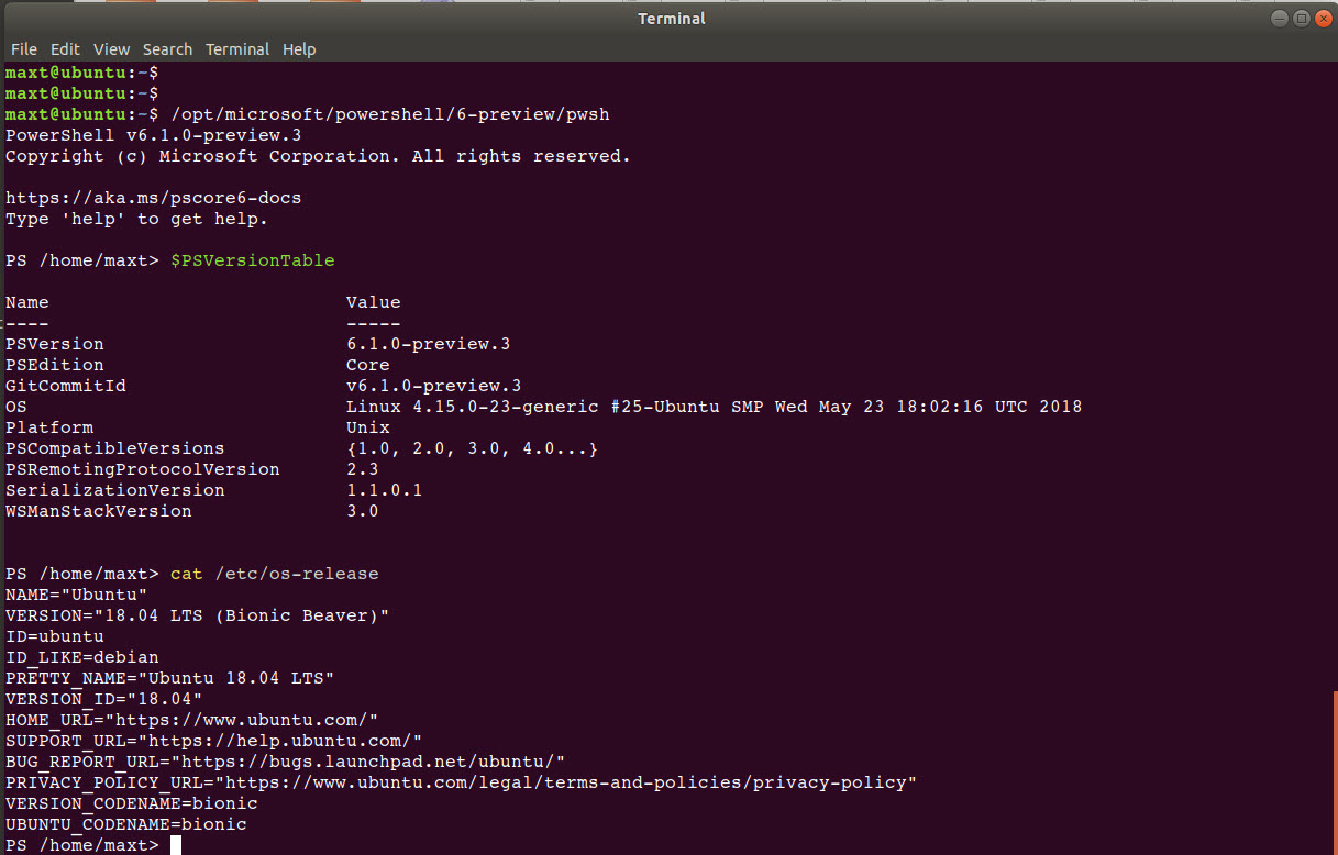 Installing PowerShell Core 6-Preview 3 in Ubuntu 18 04 and