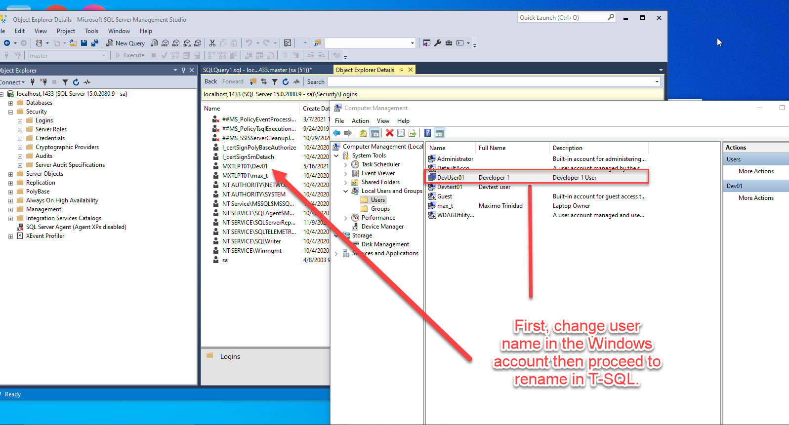 Changing a SQL Server Login name with T-SQL
